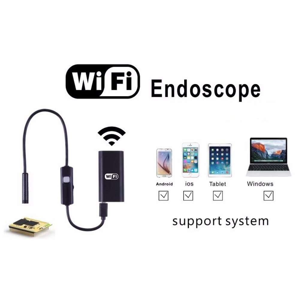 prettygood7 Camcorder Endoscope Waterproof Inspection Camera Mini Spy Camera Hidden Night Vision 1-5M 6LED Wifi For iPhone Android IO