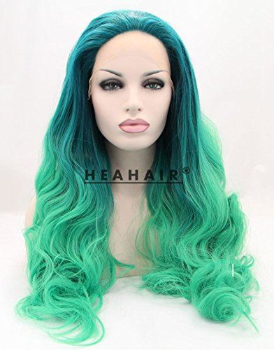 [Heahair® Sexy Halloween Ombre Green Color Handtied Synthetic Lace front Wig for Woman (Ombre Green] (Neon Green Wigs)