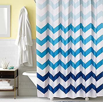 Amazon.com: Moldiy Ombre Chevron Soft Polyester Fabric Shower ...