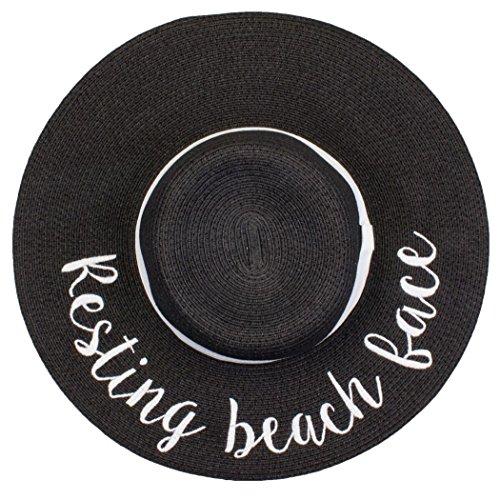 (H-2017-RBF06 Funky Junque Sun Hat - Resting Beach Face (Black))