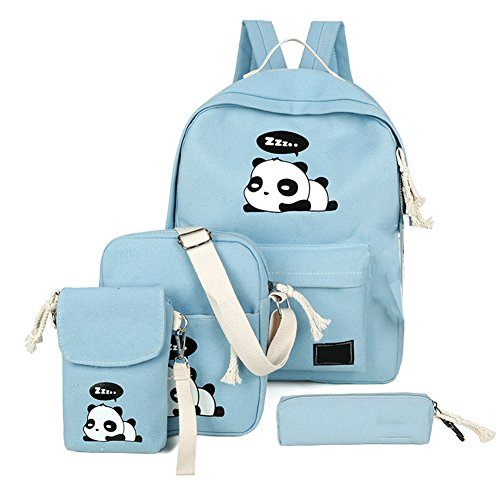 (4Pcs Cute Panda Backpack Lightweight Casual Canvas School Backpacks for Teen Girls (Blue))