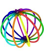 100 Pieces Multi Colors Party Glow Sticks Bright Glow Bracelets (8 inch with 100 connectors)