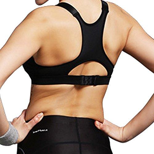 Beepeak Sujetador deportivo Push-Up para mujer, espalda abierta, cremallera en la parte frontal, acolchado negro
