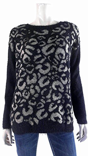 Joseph A. Womens Pullover Eyelash Sweater Medium Leopard Print