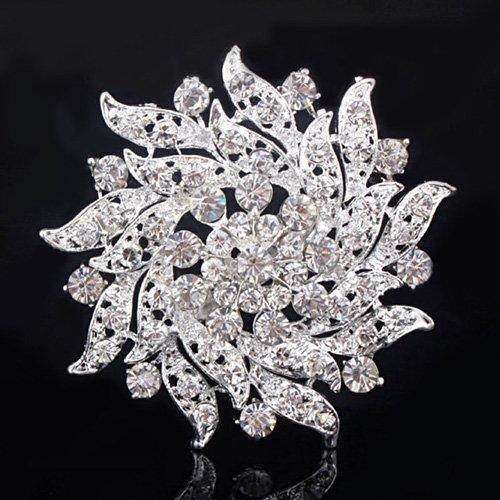 Crystal Brooch Pin Fashion Rhinestone Flower Bouquet Bridal Bridesmaid Costume