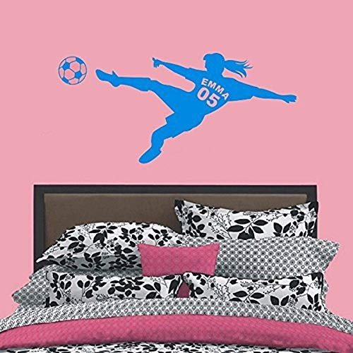 Creative Personalized Name & Number Football Soccer Ball Vinyl Wall Decals Poster Art Wall Stickers for Kids Girls Rooms
