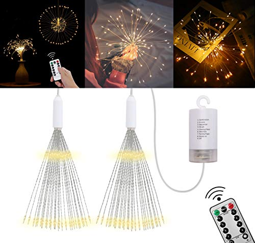 Genround 2 Packs Led Decorative Lights, Decorative Copper Wire Lights with Remote Control for DIY, 10 Brightness | 8 Flash Modes, Waterproof Firework String Lights for Valentine's Day, Wedding -