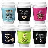 Avery Barn 6pc Mixed Color Design Neoprene Coffee Cup Insulator Cuff Wrap Sleeves