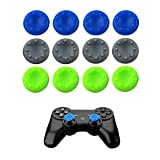 WELLSKEY 6 Pairs Thumb Grip Stick Cover For PS4 PS3 PS2 XBOX 360 ONE WII – Case Skin Joystick Controller – Pack of 12 pcs (4 Blue + 4 Gray + 4 Green) Set # 11