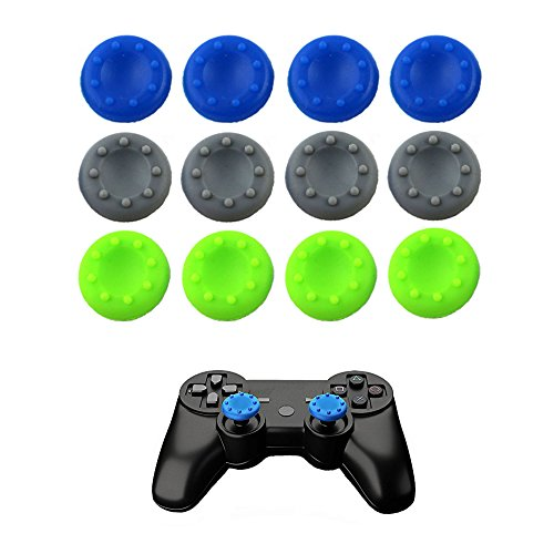 WELLSKEY 6 Pairs Thumb Grip Stick Cover For PS4 PS3 PS2 XBOX 360 ONE WII - Case Skin Joystick Controller - Pack of 12 pcs (4 Blue + 4 Gray + 4 Green) Set # 11