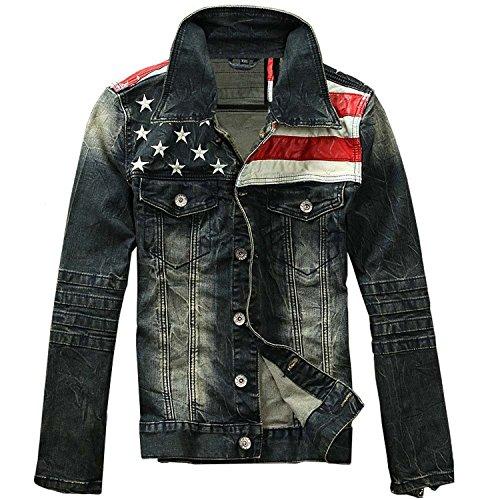 YeSiYan Men's American Flag Denim Jacket Slim Fit Motorcycle Long Sleeve Outwear Blue (US - Long Sleeve Jeans Leather