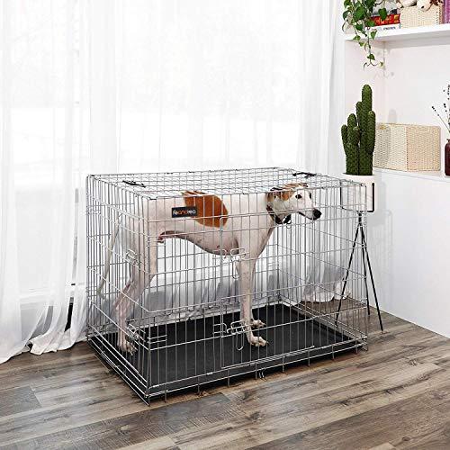 FEANDREA Jaula metálica para Perros Transportín Plegable para Mascotas Plata XXL 106 x 70 x 77,5 PPD42W: Amazon.es: Productos para mascotas