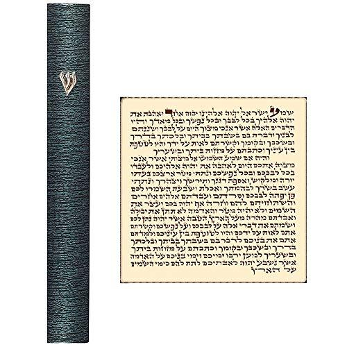 - Talisman4U Aluminum MEZUZAH CASE with Scroll Hebrew Parchment 3D Metal Painted Gray Stripes Judaica Door Mezuza Made in Israel 4 Inch