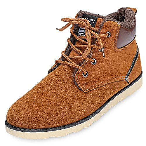 - KCatsy Trendy Round Toe Lace-up Fleece Flat Heel Men Ankle Boots Brown