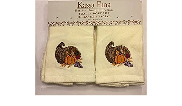 Amazon.com : Kassa Fina Hartvest Home Collection Embellished Towel, Set Of 4 Fingertips, Pumpkin & Give Thanks (Cream) : Everything Else