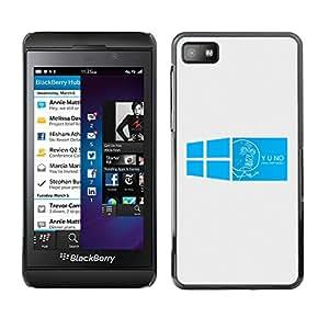 Azul de imágenes de Windows - Metal de aluminio y de plástico duro Caja del teléfono - Negro - Blackberry Z10
