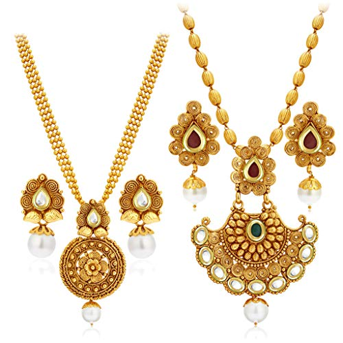 Sukkhi Splendid Pearl Gold Plated Wedding Jewellery Kundan Long Haram Necklace Set Combo For Women (388CB1400_D3)