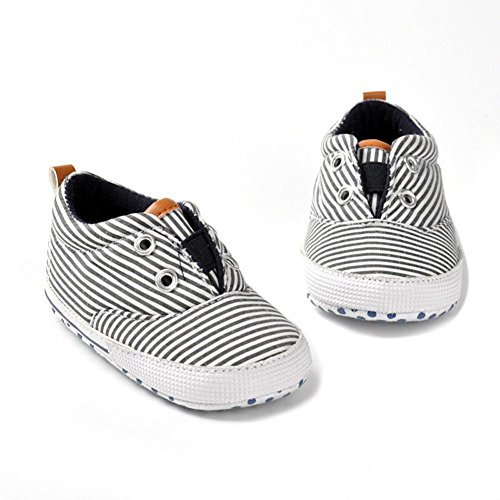 Voberry Newborn Girls Boys Striped Canvas Shoes Baby Soft Sole Anti-slip Sneakers