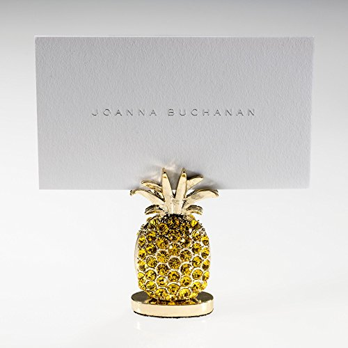 Joanna Buchanan Place Card Holder - With 20 Place Cards, Pineapple, Set of 2, Decorative Card Picture Holder or Table Setting for Dinner Party Name Tags, Yellow
