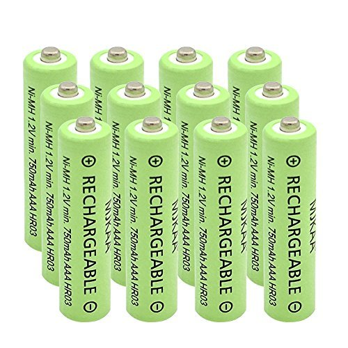 - AAA(Not AA) Rechargeable Battery 750mAh High Performance 1.2V Ni-MH AAA Batteries (12 Pack)