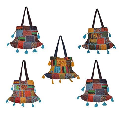 Indian Vintage Indian Cotton Handbag Shoulder Bags Women's Designer Traditional Bag LOT of 5 Pcs.