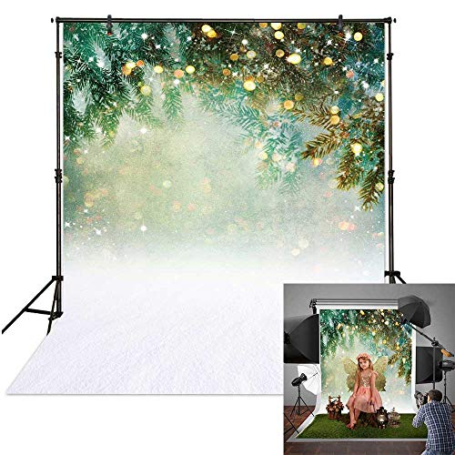 Funnytree 5x7ft Christmas Winter Green Bokeh Photography Backdrop White Snow Sparkle Spots Snowflake Background Fairytale Glitter Baby Portrait Photobooth Banner Party Decorations Photo Studio Props