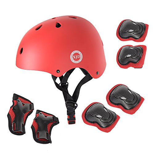 XJD Child Adjustable Sports Protective Gear Set Safety Pad Safeguard (Kids Helmet Knee Elbow Wrist) for Roller Bicycle BMX Bike Skateboard Scooter and Other Extreme Sports Activities (RED)
