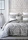 Envogue Bedding 3 Piece Full / Queen Duvet Cover Set Classic Antique Floral Medallion Pattern in Shades of Gray on a Light Gray and White Background