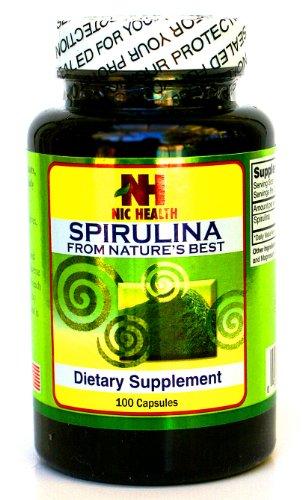 100% Natural Spirulina, Best Anti-Oxidant & Anti-Cancer & Antibiotic, 500mg , 100 Capsules