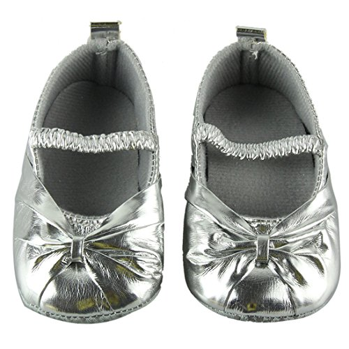 AutumnFall(TM) Newborn Shoes Soft Sole Skid-proof Infant Shoes First Walker Prewalker (11CM, Silver)