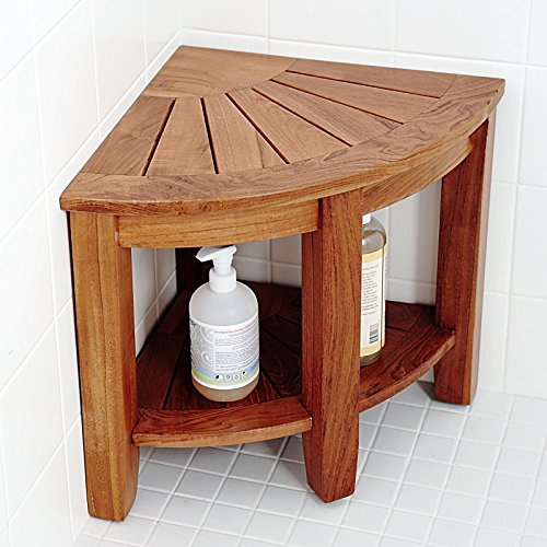 WELLAND 2-Tier Teak Corner Shower Bench with Storage Shelf, 15 1/2-Inch