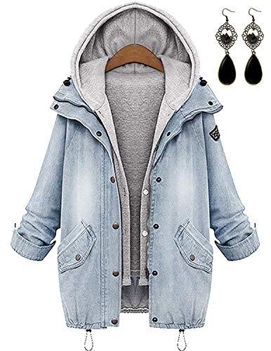 Sitengle Encapuchonné 1 En Retro Manteau 2 Hiver Femmes Loisir Jean Outwear Parka Automne Mode Blanc PqrWxP84