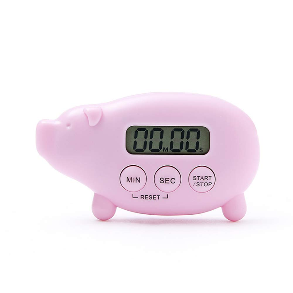 Cute Kitchen Timer, Caliamary Digital Pig Kitchen Timer Magnetic Cook Timer, Fun Digital Cooking Timer Loud Ring for Kitchen Cooking Baking Sports Games Office (Pink)