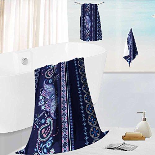 AuraiseHome toddler bath towel set Striped seamless ethnic pattern Paisley ornamental wallpaper Ultra Softness & Absorbency 19.7