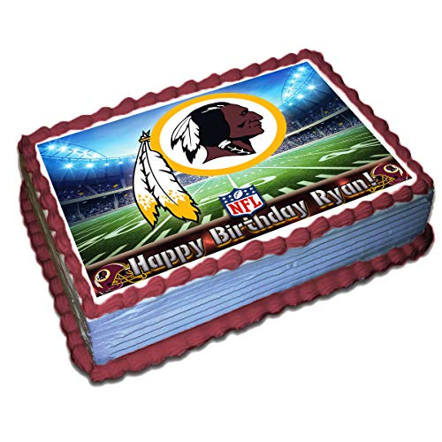 Washington Redskins NFL Personalized Cake Topper Icing Sugar Paper 8.5 x 11.5 Inches Sheet Edible Frosting Photo Birthday Cake Topper (Best Quality Printing) ()