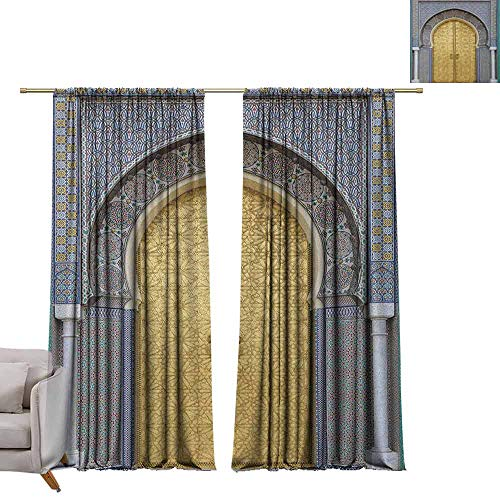 berrly Best Blackout Curtains Moroccan,Antique Doors Morocco Gold Doorknob Ornamental Carved Intricate Artistic, Yellow Teal Blue W84 x L96 Blackout Curtain Set