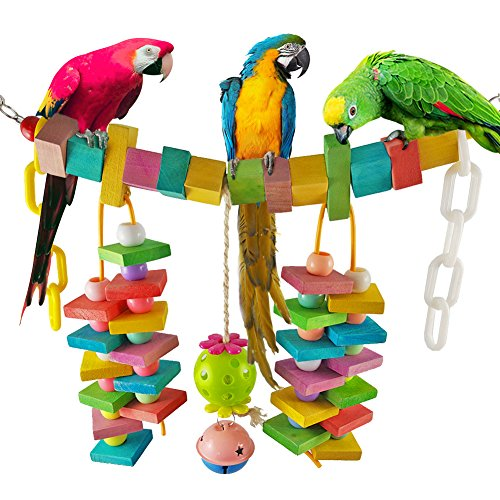 Blocks Hanging (Parrot Chewing Toy Block with Hanging Bells for Small Medium Parrot Macaw African Greys Cockatoo Cockatiel Budgie Lovebirds Conures Parakeet and Cage Decoration, Length 13.8