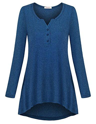 Nomorer Cyber Monday Sales Workout Shirts, Laides Cotton Tunic Cute Outfits Cool Design Athleisure Wear Preppy Fresh Comfort Spandex Fabric Floating Vintage Blouse Top (Blue - Vintage Preppy