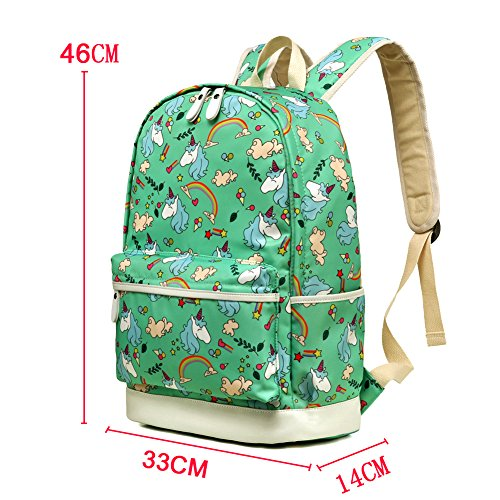 Kemy's Inicorn School Backpack for Girls Set 3 in 1 Cute Printed Bookbag 14inch Laptop School Bag for Girls Water Resistant Gift, Teal Green by Kemy's (Image #2)