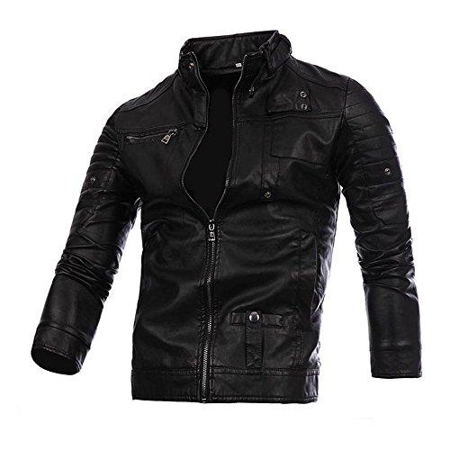 Preferential New Zlolia Men Leather Retro Jacket Autumn&Winter Biker Motorcycle Zipper Outwear Warm Coat (Measurements Loveseat Standard)
