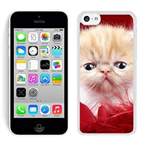 Personalized Red Fur Christmas Cute Cat White Hard Shell Iphone 5c Plastic Phone Case