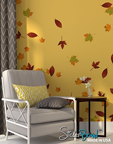 Autumn Leaves Falling Wall Decal Stickers - Fall Colors Decoration. Easy to Apply & Removable. Include 60 leaves. #AC124 (Falling Leaves Wall Sticker)