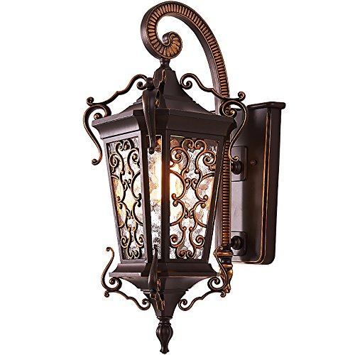 TOYM US European Outdoor Waterproof Wall Lamp American Vintage Die-Cast Aluminum Lighthouse Terrace Balcony Door Glass Shade Garden Lights by Wall lamp 208