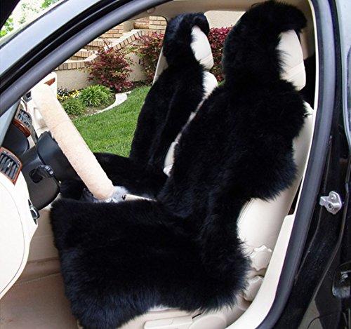 OKAYDA 1 Piece Australia Sheepskin Car Seat Covers Real Fur Car Interior Accessories Cushion Newest Winter Stylish Plush Car Seat Cover Black (Best Baby Car Seat Australia)