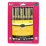 Sakura 30068 8-Piece Pigma Micron Assorted Colors 01 Ink Pen Set