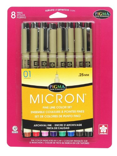 - Sakura Pigma 30068 Micron Blister Card Ink Pen Set, Ass't Colors, 01 8CT Set