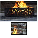 Quality Brand Company QBC Bundled PD Metals Steel Campfire Ring Dragonfly Design - Unpainted - with Fire Poker - Large 48 d x 12 h - Plus Free QBC Campfire Ring eGuide