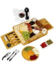 Charcuterie Board, Bamboo Serving Board with Fruit Tray Perfect as House Warming, Wedding, Women,