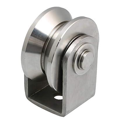 BQLZR Rueda de 63 mm de diámetro, acero inoxidable 304, con rodamiento de raíl