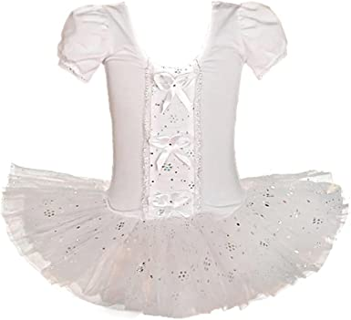 Lito Angels Girls Dancewear Dance Costume Ballet Tutu Leotard Fairy Costume Ribbon Trimmed Size 4-5 Years White